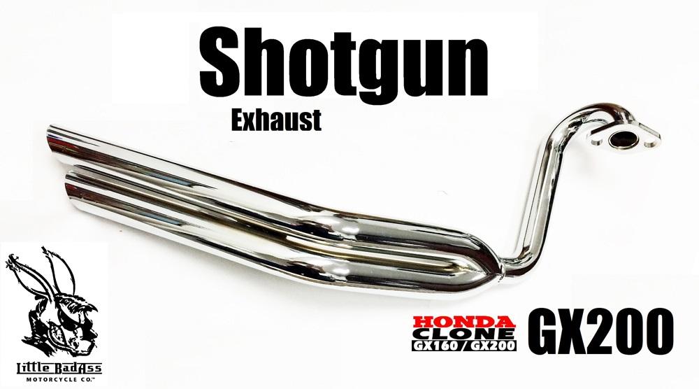 Chrome Shotgun Exhaust Header, Little BadAss Honda GX200