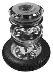 "10"" Rear Wheel Assembly for Mini Bikes, 60 Tooth Sprocket"
