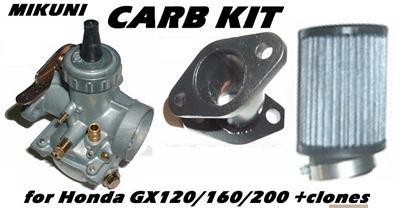 Mikuni Carb Kit, Curved intake, for Honda GX120/160/200 and clones