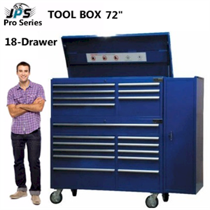 72in 18 Drawer Tool Cabinet and Top Chest with Side Cabinet