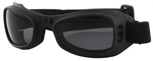 BOBSTER GOGGLE, Adjustable Strap, Black w/Smoke Lens