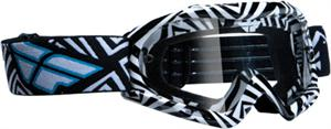ZONE Youth Goggles, ATV/Motocross, Black/White Clear Lens