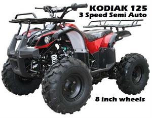 Kodiak 125 ATV, 3-Speed Semi Automatic with Reverse, 8 inch wheels