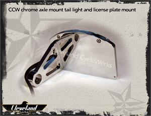 Heist Bobber LED Axle Mount Chrome Tail Light License Plate Mount