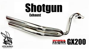 Chrome Shotgun Exhaust Header, Little BadAss Honda GX200