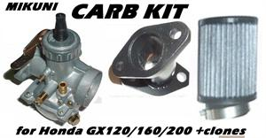 Mikuni Carb Kit, Curved intake, for Honda GX120/160/200 and clones