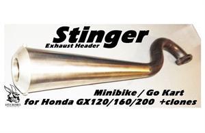 Minibike Stinger Exhaust Header, Honda GX120/160/200 & clones