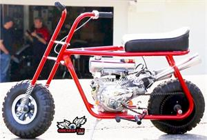 Minibike Built for HOTROD Magazine. Shown with Astro Wheels, Mikuni Stage 1 , Stinger Exhaust and Engine Mounted Gas Tank