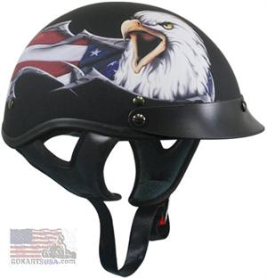 Flat Black with American Eagle Half Helmet