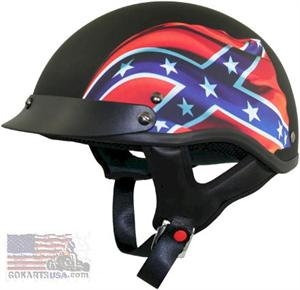 Flat Black Rebel Flag Half Helmet