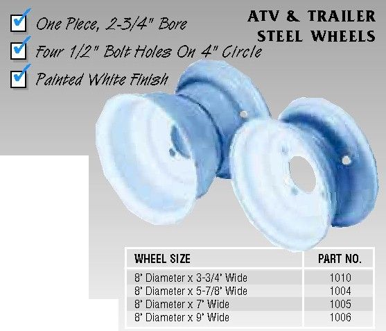 8 in. Steel Wheel Part# 1004