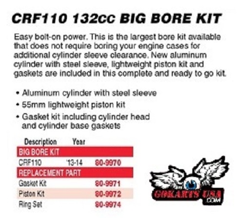 132cc Big Bore Kit, CRF110
