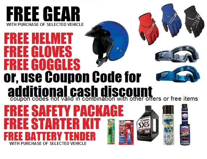 Hot coupon code sale go kart mini bike pit bike atv scooter get free gear cash discount fandeluxe Choice Image