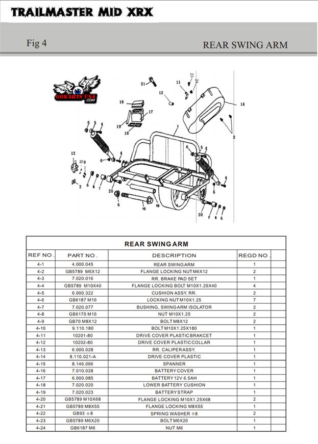 TrailMaster Gokart Parts, Rear Swing Arm for MID XRX XRS Gokart