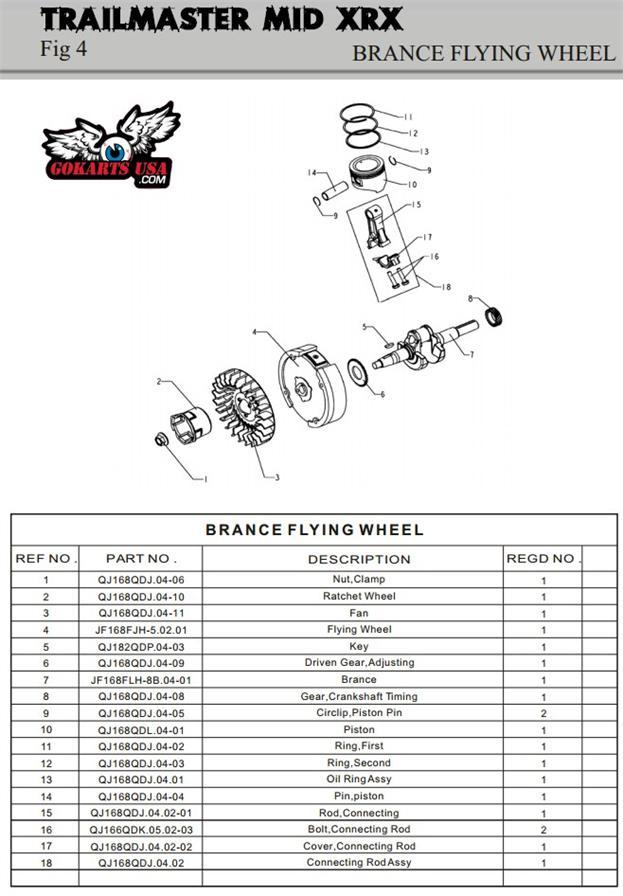 Trailmaster Mid Xrx Xrs Gokart 196cc Engine Crankshaft Assembly