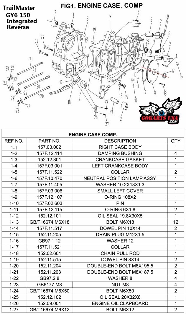 trailmaster 150 gokart engine case parts gy6 150 2009 dodge challenger wiring diagram 73 challenger wiring diagram