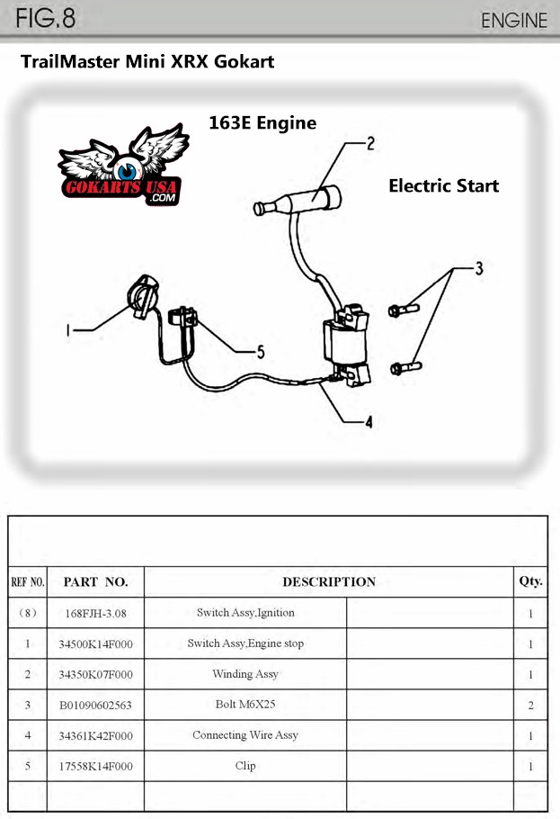 TrailMaster Mini XRX XRS Gokart 163cc Engine Electric Start – Honda Gx390 Engine Diagram