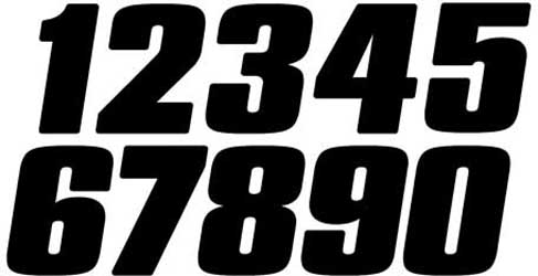 Competition Stick-on Numbers, 7 in. Black 3/PK