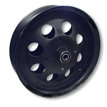 Mini Bike Wheel, 10 in. Black Oxide  with 5/8 in. Bearings Part# 10121