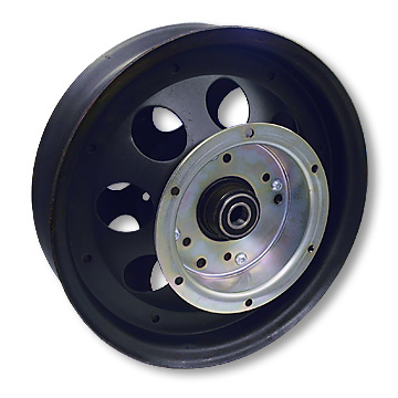 Mini Bike Wheel, 10 in. Steel with Flanged Drum and Bearings. Part# 10123