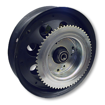 Mini Bike Wheel, 10 in. Steel with #35 60T Sprocket, Brake Drum and Bearings. Part# 10124