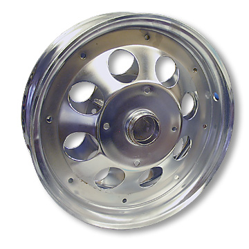 Mini Bike Wheel, 10 in. Chrome Plated, less bearings Part# 10131