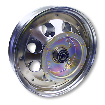 Mini Bike Wheel | 10 in. Chrome | Brake Drum |Bearings