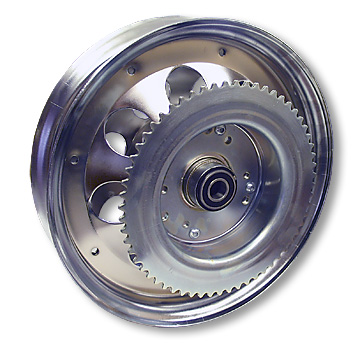 10 in. Chrome Wheel, with 5/8 ID Bearings, #35 60T Sprocket, Brake Drum