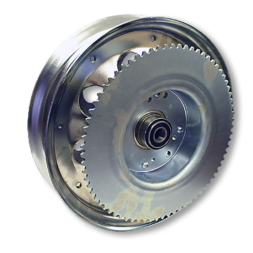 Mini Bike Wheel, 10 in. Chrome with #35 72T Sprocket, Brake Drum, Bearings. Part# 10155