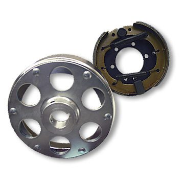 BRAKE ASSEMBLY, 6in, WITH PLATED DRUM RIVETED TO 1in ID UNI-HUB