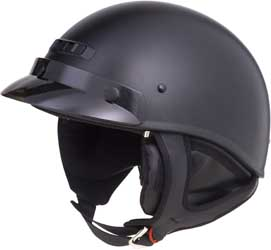 GMAX GM35 HALF HELMET, Dressed, Flat Black