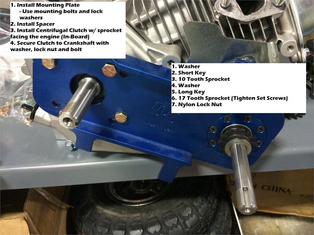 1201 Jackshaft Kit, GTC Go Kart and Mini Bike Gear Reduction