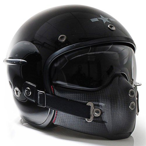 Harrison Retro Open Face Helmet, with Mask