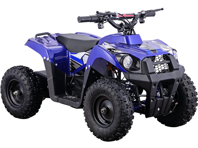The MotoTec 36v Mini Quad Monster v6 is the ultimate kids atv! Great for driveway and backyard fun, cruise over bumps and speed through dirt trails with ease. Comes standard with front & rear suspension, front & rear brakes and large 13 inch knobby pneuma