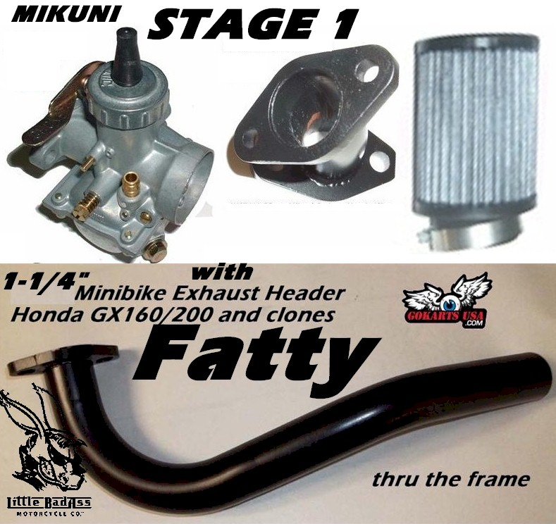Mikuni Stage 1 Kit, with Fatty Exhaust, Honda GX120/160/200 and clones