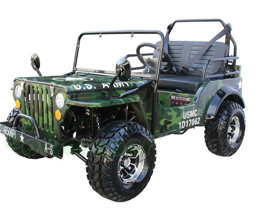 Willys Jeep 125cc Go Kart 125cc 3-Speed, Army Green