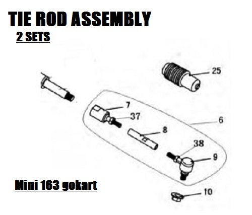 Tie Rod Assembly(set of 2), TrailMaster Mini XRS Gokart