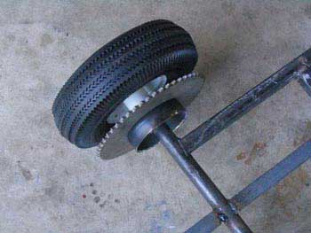 Build a wheel go kart drive wheel with brake option for Irish mail cart plans
