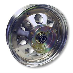 Mini Bike Wheel, 10 in. Chrome with Brake Drum and Bearings. Part# 10152