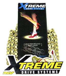 XTREME #35 CHAIN, HIGH PERFORMANCE, GOLD ON GOLD FINISH, 120 LINK WITH  MASTER LINK, NOT RIVETED CLOSED. OUR BEST #35 CHAIN (BLUE BOX).