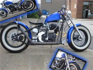 Metallic Blue with Rally Stripe, Whitewalls, Upturned Pipe and Front Fender