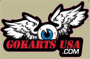 GokartsUSA Eye-Ball and Wing Sticker, die cut 2x4