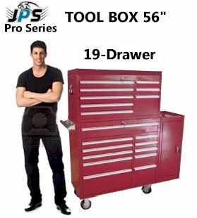 Tool Box, 56in 19-Drawer, 3 Piece Rolling Combo